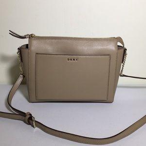 DKNY tan leather shoulder bag